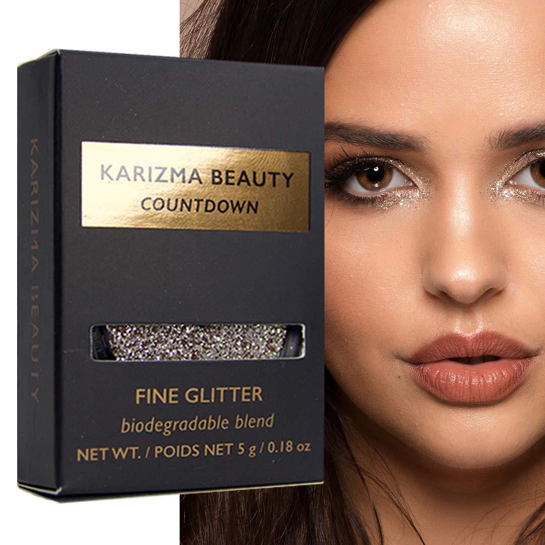 Countdown Glitter Eyeshadow Biodegradable // Karizma Beauty Champagne Bio Glitter Eco Glitter Face Glitter Loose Eyeshadow