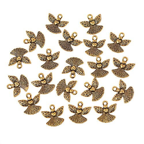 Homeford Small Angel Metal Charms, 3/4-Inch, 20-Count (Gold) -