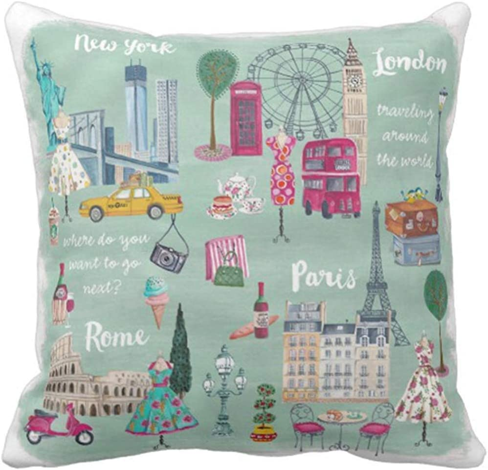 Throw Pillow Cover Cute Cartita Travel