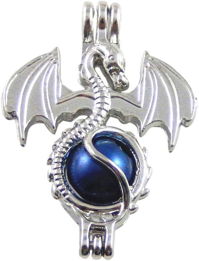 JulieWang 10 medallones de plata con diseño de dragón de fuego para aromaterapia difusor de aceites esenciales.