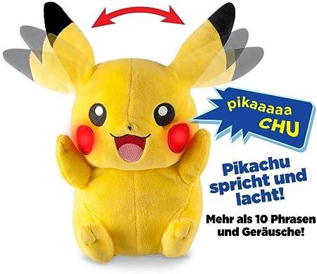 Zking Pikachu Peluches Anime Lindo Resplandor Eléctrico Brillante Puede Hablar Orejas Puede Mover Niños Regalos para Niños 25 Cm