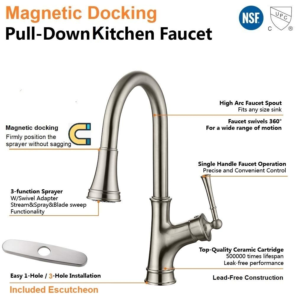 Appaso Single Handle Magnetic Docking Kitchen Faucet With