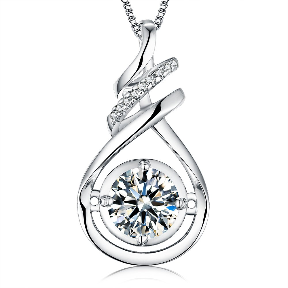 VAN RORSI&MO Sterling Silver Necklace 2.0 ct Round Cubic Zirconia Violin Pendant Necklace jewelry for women,18''