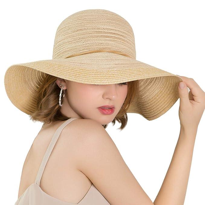 32afbd35 ENJOYFUR Floppy Wide Brim Sun Hats for Women,Foldable Summer Beach hat,UPF  50