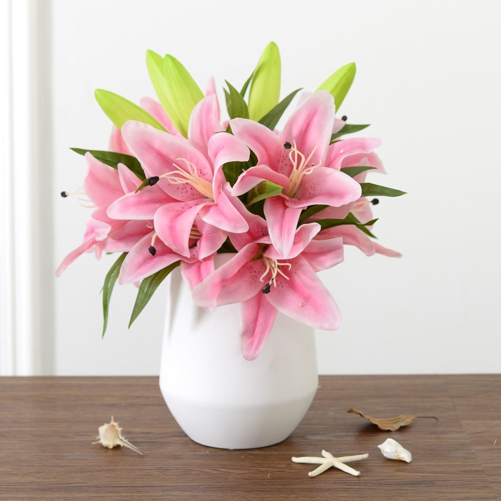 5 Heads Bounquet Artificial Lily Artificial Flowers for Home and Wedding without Vase & Basket, 1 Flower, Pink KAIMO