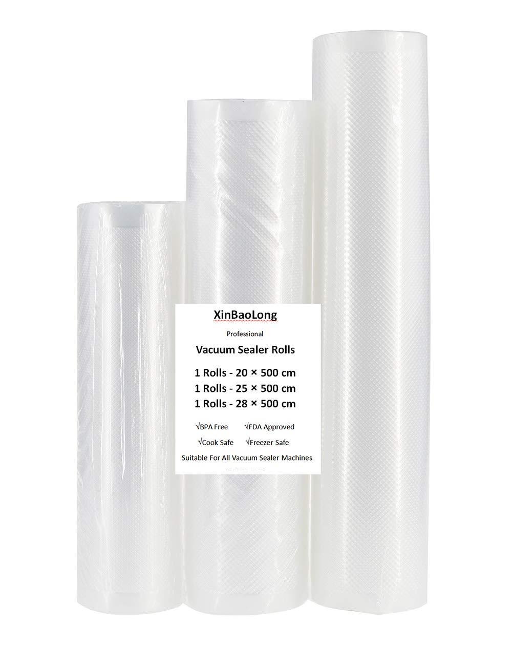 Vacuum Sealer Bags Rolls, Vacuum Food Sealer Bags for Food Saver Storage,1 Pack 20X500CM,1 Pack 25X500CM,1 Pack 28X500CM(3Rolls)