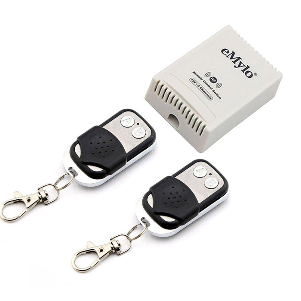 emylo® DC 12 V 2 canales interruptor de control remoto inalámbrico Smart Extensor Negro Transmisor Controlador