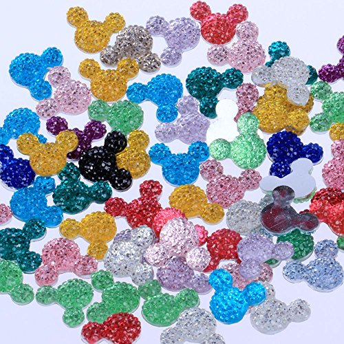 - New 1000Pcs/Lot Multi 14x11.5mm Many Colors Small Mickey Head Flatback Resin Dotted Design Rhinestone Resin Stone Beads DIY Deco (00 Mixed Colors)