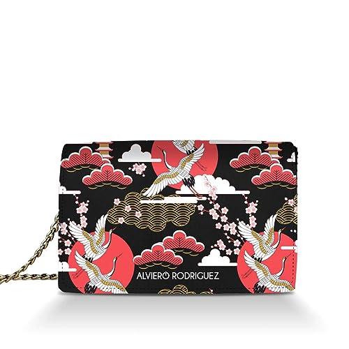 eb5482268c Alviero Rodriguez Borsa Donna Japanese Sky Cielo Bird Giappone in Vera Pelle  (Catena Argento): Amazon.it: Scarpe e borse