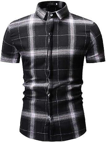 GRMO Camisa a Cuadros de Franela de Manga Corta con Estampado a Cuadros para Hombre: Amazon.es: Ropa y accesorios