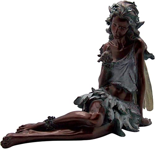 Wowser Outdoor Decor Large Bronze-Tone Cast Resin Fairy Statue