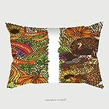 Custom Satin Pillowcase Protector Vector Colourful Thanksgiving Vertical Ornaments Isolated On White Background. Turkey, Pumpkin, Corn, Horn Of Plenty, Apple, Pear, Hazelnut, Pilgrim Pillow Ca