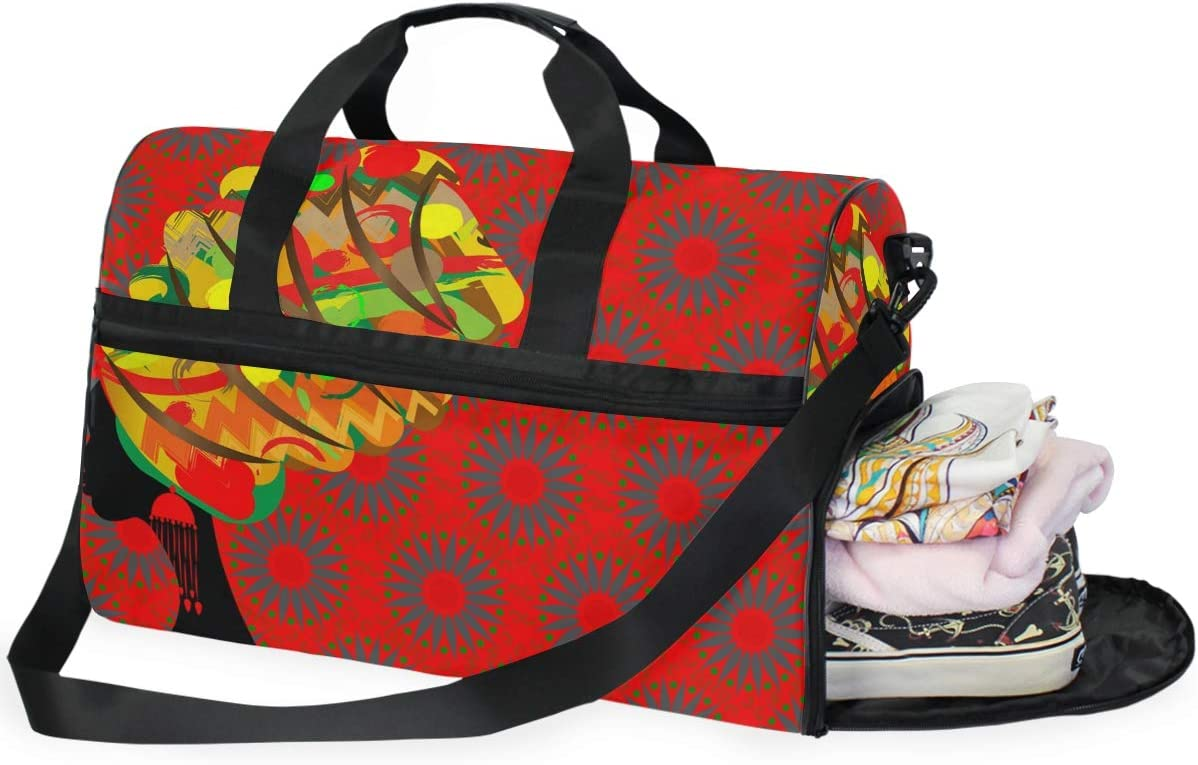 TFONE African Woman Duffel Bag Sports Gym Weekend Bags with Shoe Compartmen