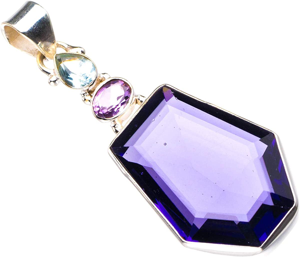 Natural Amethyst And Blue Topaz Handmade 925 Sterling Silver Pendant 2.25 D2753