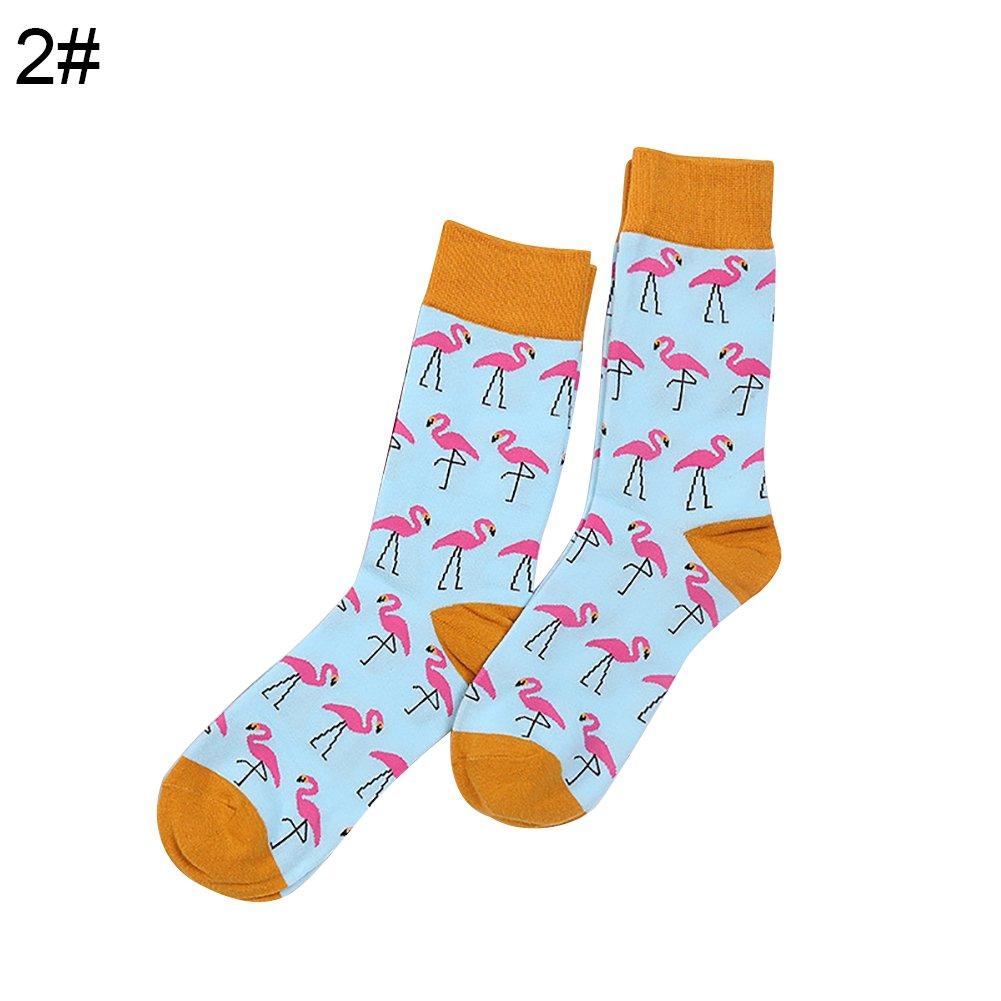 Men's Socks, Winter Funny Animal Printed Flamingo Men Sock Elastic Cotton Casual Adult Sock