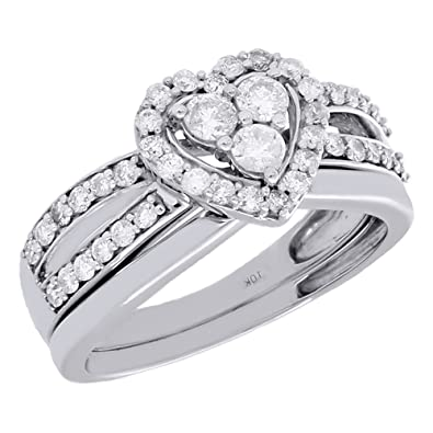 Amazon Com 10k White Gold Round Diamond Halo Heart Split Shank