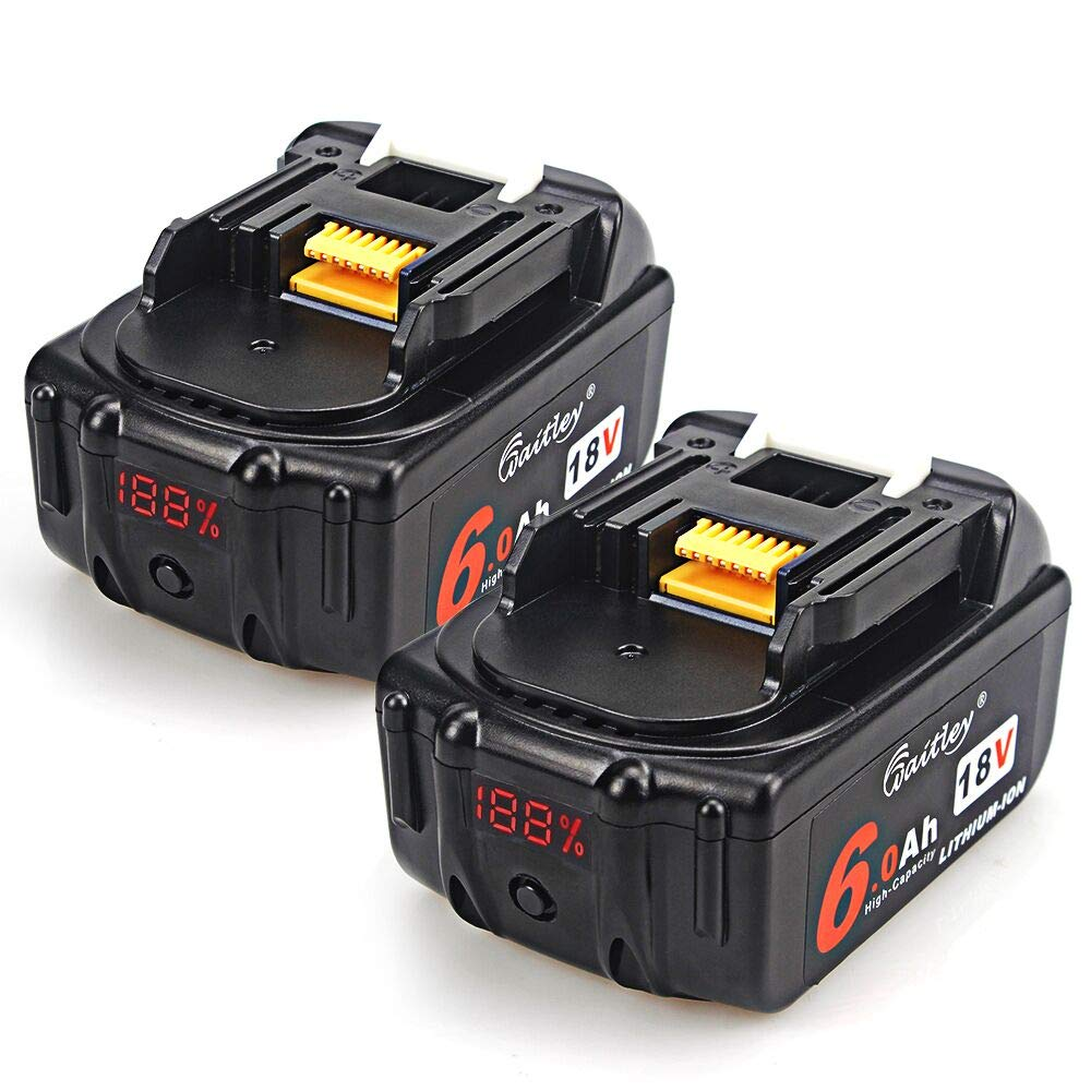 TenMore 18V 6.0ah BL1860 Replacement Battery with LED Indicator Compatible with Makita 18V BL1830B BL1860B BL1840B BL1815 LXT-400,2-Pack by TenMore