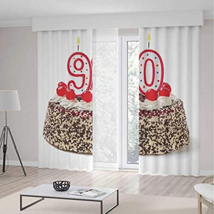 Amazon Bedroom Curtains90th Birthday Decorations For Living Room Cake With Cherries Burning Candles Number Ninety236Wx106L Inches Home