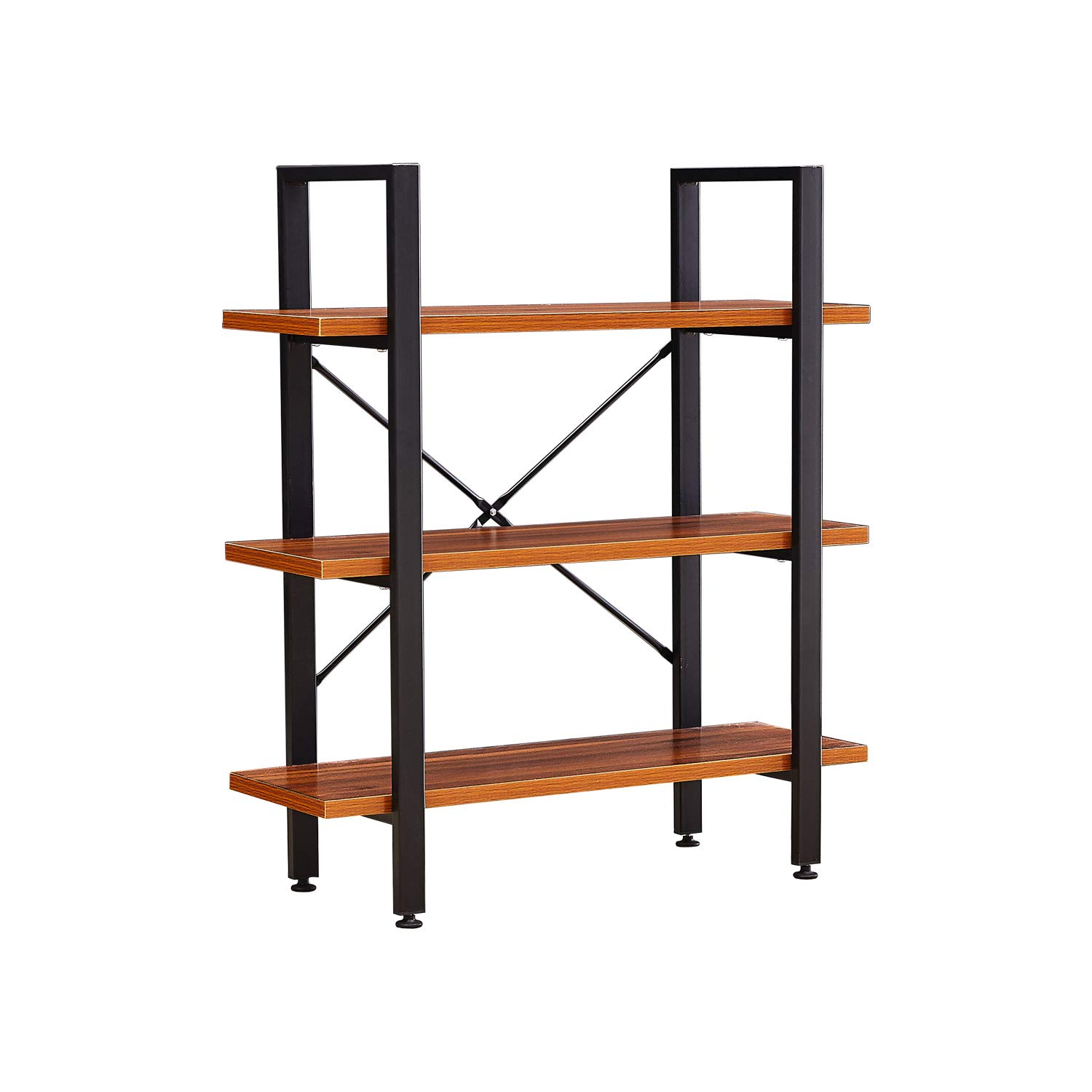 GreenForest 3 Tiers Bookshelf Wood and Metal Bookcase Industrial Style Open Etagere Storage Rack 35.43 inch x 11.3 inch x 40.1 inch Walnut