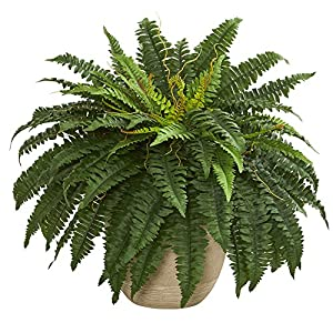 "Nearly Natural 8052 22"" Boston Fern Artificial Plant in Sandstone Planter, Green 114"