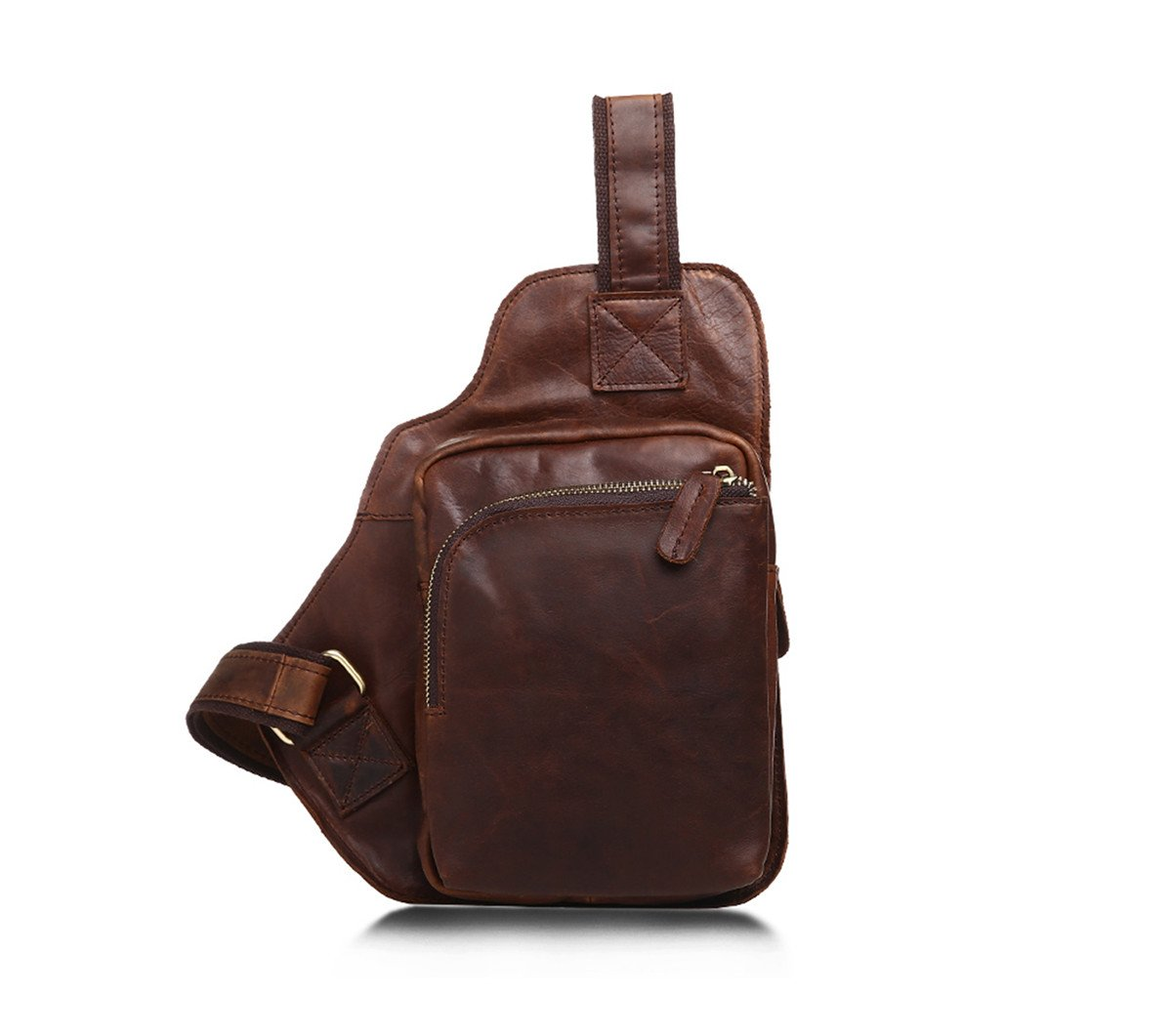 JOYIR Estilo Completo Sling Bag Piel de auténtica Piel Bag de Bolsillo en el Pecho de Cross Body Mini Mochila para Hombre 11c5f0