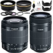 Double Canon Lens Kit for Canon EOS 7D, 60D, 60Da, 70D, EOS Rebel SL1, T1i, T2i, T3, T3i, T4i, T5i, T6, T6i, T6s, XS, XSi, XT, & XTi Digital SLR Cameras Includes Canon EF-S 18-55mm f/3.5-5.6 IS STM Lens (White Box) + Canon EF-S 55-250mm F4-5.6 IS STM Lens (White Box)+ 0.43x Wide Angle Lens + 2.2x Telephoto Lens + 4 Pc Filter Kit & more All in One Bundle