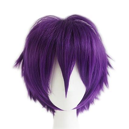 Cool Men peluca rizada corto Cosplay peluca de Halloween pelo Boy pelucas llenas-púrpura /