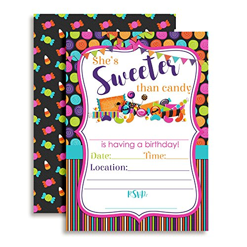 Halloween Candy Birthday Party Invitations, Ten 5