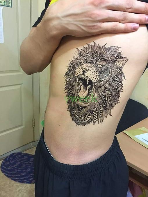 83edb193c Temporary Tattoo For Girls Men Women 3D Big Lion Face Sticker Size 21x15CM  - 1PC.: Amazon.in: Beauty