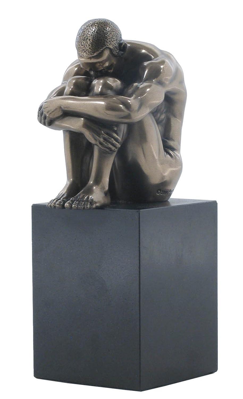 4.88 Inch Cold Cast Bronze Nude Male Statue Figurine Head on Knees