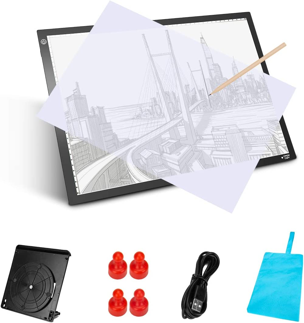 Longan Craft A3 Light Box LED Light Box Ultra-Thin Portable Light Pad Stepless Dimmable Brightness Art Craft Light Tracing Copy Board with Carry Case for Artists Drawing Tattoo Sketching Animation
