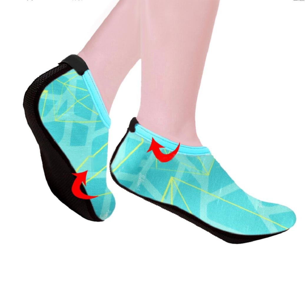 Water Socks,Elevin(TM)Men Women Yoga Aerobics Surf Beach Pool Sand Snorkeling Sport Swimming Diving Flippers Socks Barefoot Skin Walking Water Shoes (5.5-6US, Blue)