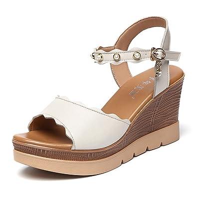 bce5c3a2f8965 Sandales Talons Hauts Compensés pour Femmes, Plateforme Perlé Élégant Bride  Cheville Chaussure Blanc 32
