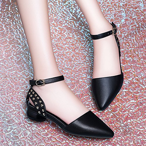 Rivets Low In Sandals Shoes Style Heel Spring For Shoes KPHY And Shoes British Women'S Leather New Summer Women'S Black nOYqEHFx