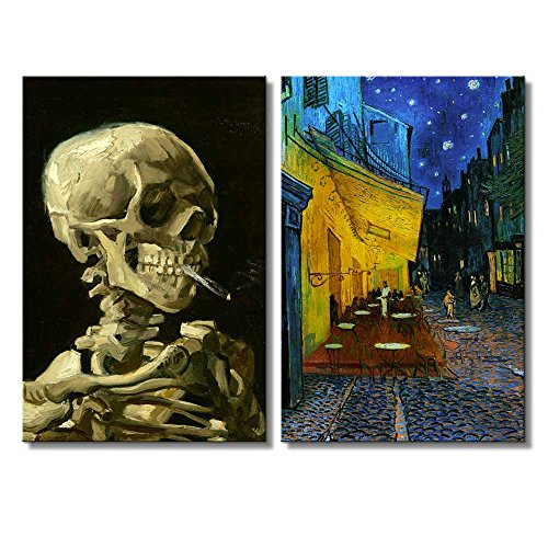 Cafe Terrace at Night Skull of a Skeleton with Burning Cigarette by Vincent Van Gogh Oil Painting Reproduction in Set of 2 x 2 Panels