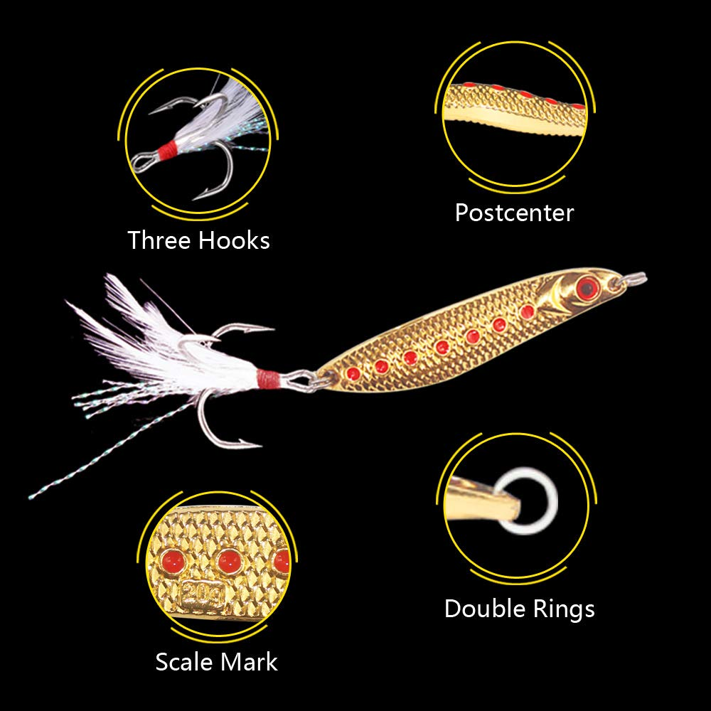 GUYOUKE Hard Leech Spoon Lure Long Shot Metal Noise Sequins Fishing Lure Baits with Feather Hook Pack of 4pcs