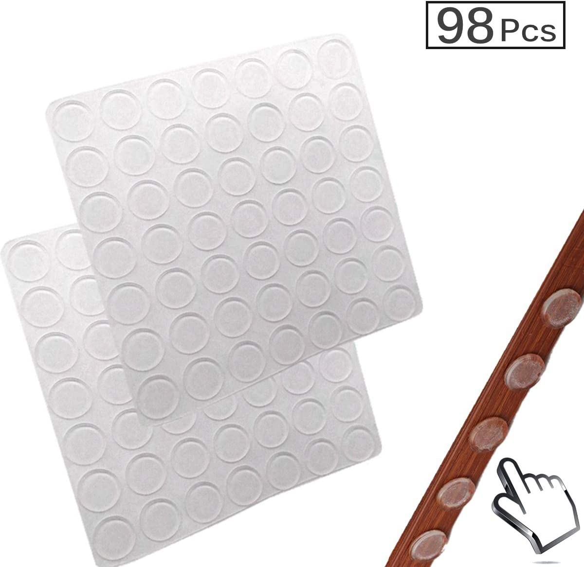 "Clear Glass Table Top Bumper Large Bumpers Pads 98PCS 3/5"" Non Slip Adhesive Rubber Bumps Pads for Furniture Electronics Laptop Mirrors"