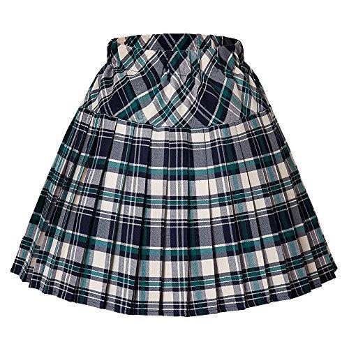 Urban CoCo Women's Elastic Waist Tartan Pleated School Skirt (Medium, series 13 Green)