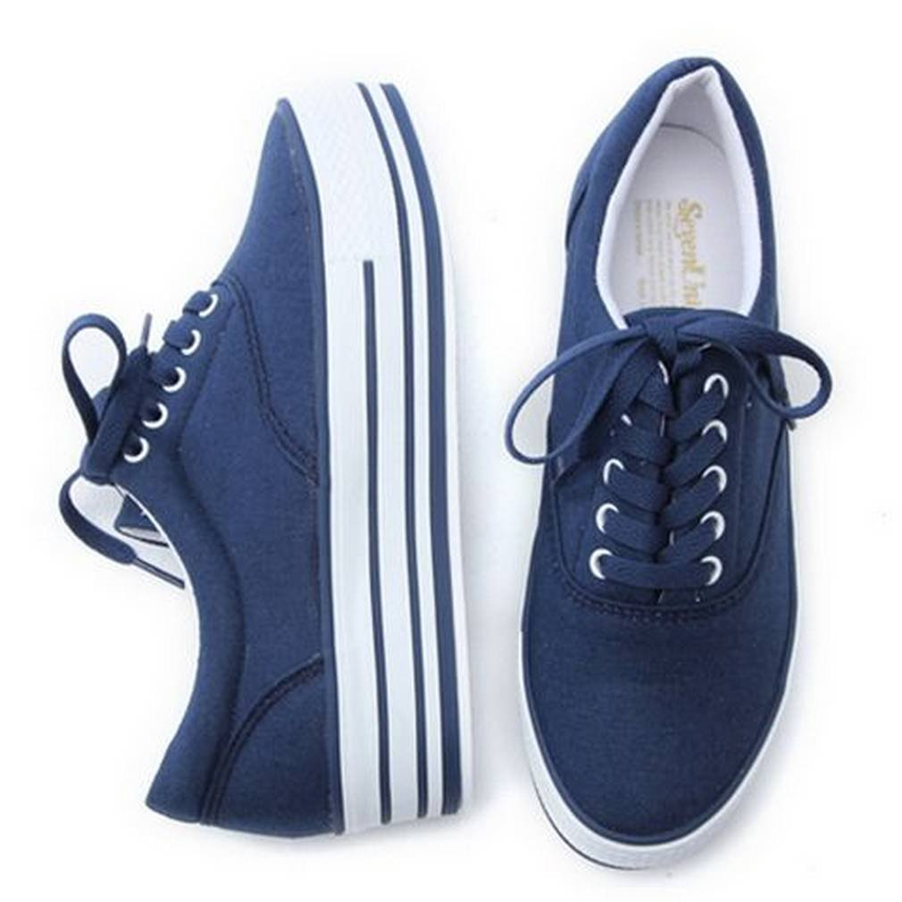 EpicStep Women's Casual Comfort Simple Canvas Lace Up Thick Soles Shoes Fashion Sneakers Trainers B01BBYLET4 7.5 B(M) US|Blue