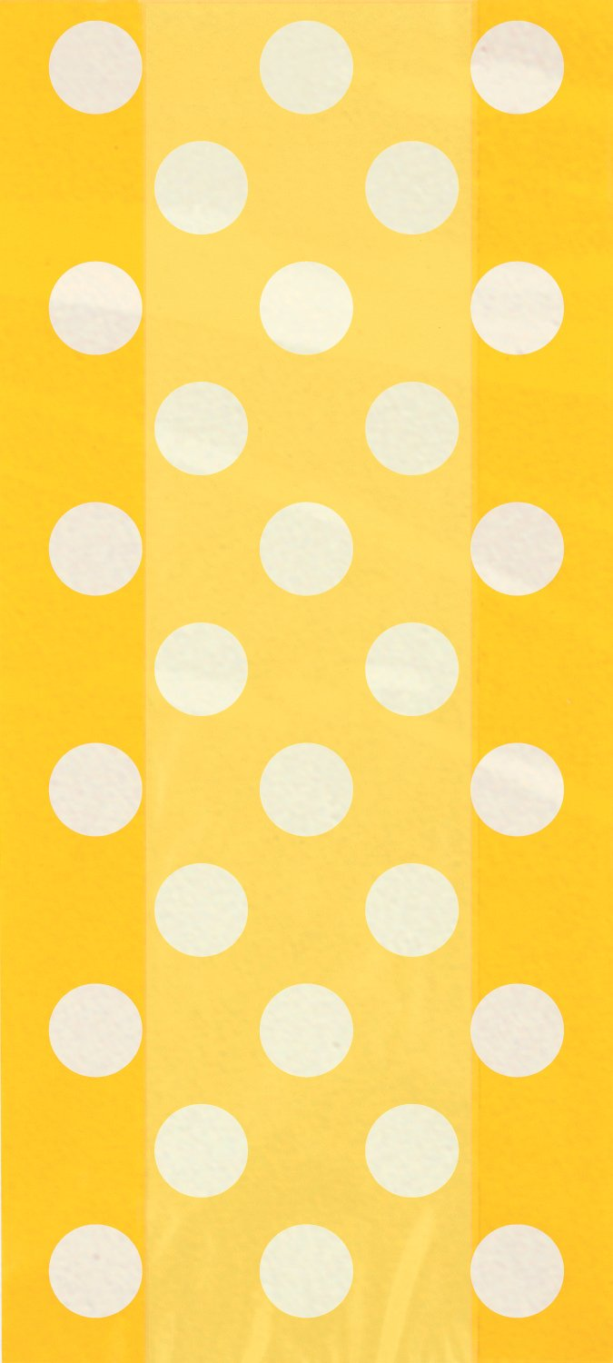 Yellow Polka Dot Cellophane Bags, 20ct