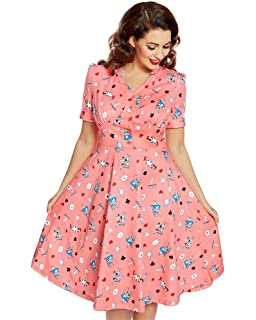 ae57216cf014c Lindy Bop Audrey' Blue Baby Unicorn Print Swing Dress - 26: Amazon ...