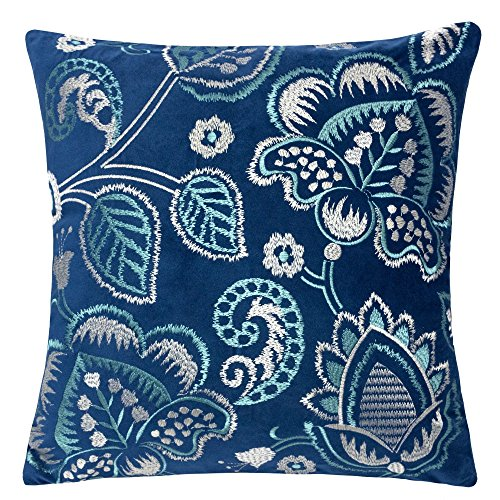 Homey Cozy Embroidery Throw Pillow Cover,Garden Floral Navy and Turquoise Velvet Large Sofa Couch Pillow Sham,20x20 Cover -