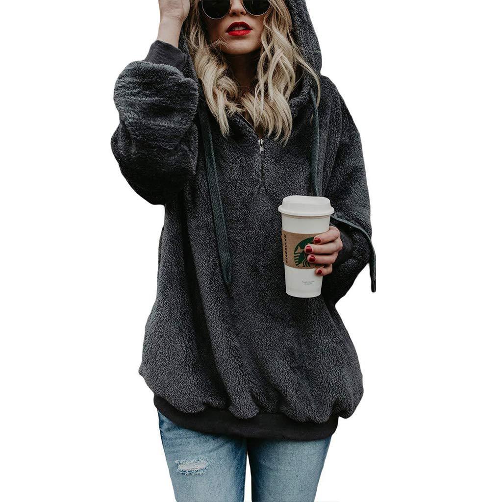 Horoshop Women Long Sleeve Hoodie Sweatshirt,Oversized Winter Thicken Warm with Pocket 1//4 Zip Sweatshirt