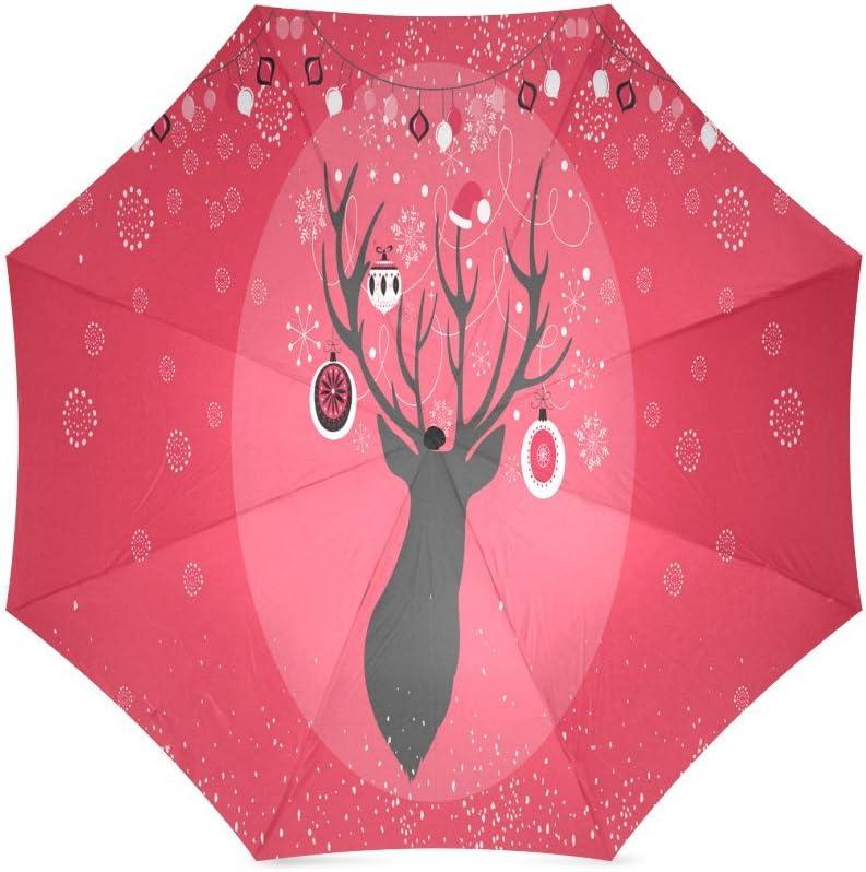 Custom Deer Compact Travel Windproof Rainproof Foldable Umbrella