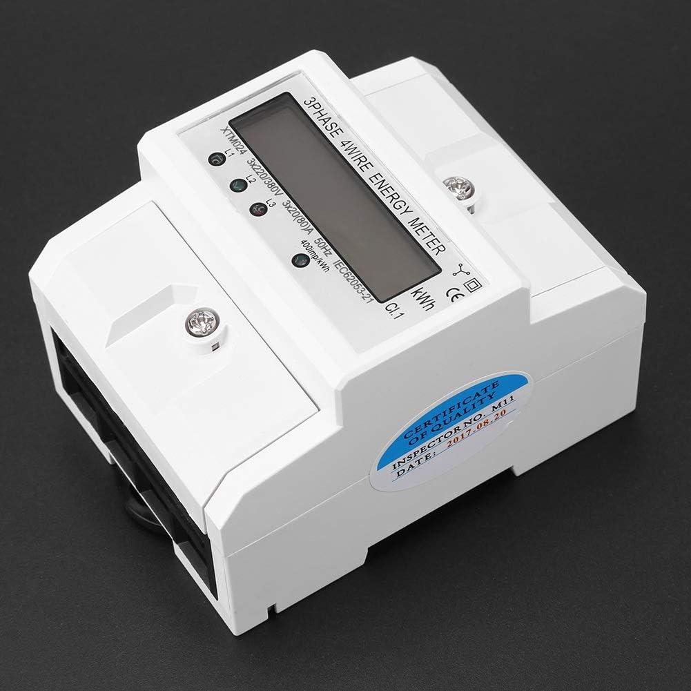 Leinggg Medidor el/éctrico 80A LCD Digital 3 x 20 Medidor de energ/ía electr/ónico trif/ásico de Cuatro Hilos con riel DIN KWh