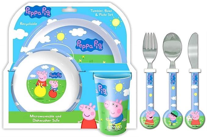 Peppa Pig and George 6 Piece Tableware Dinner and Cutlery Set: Amazon.es: Juguetes y juegos