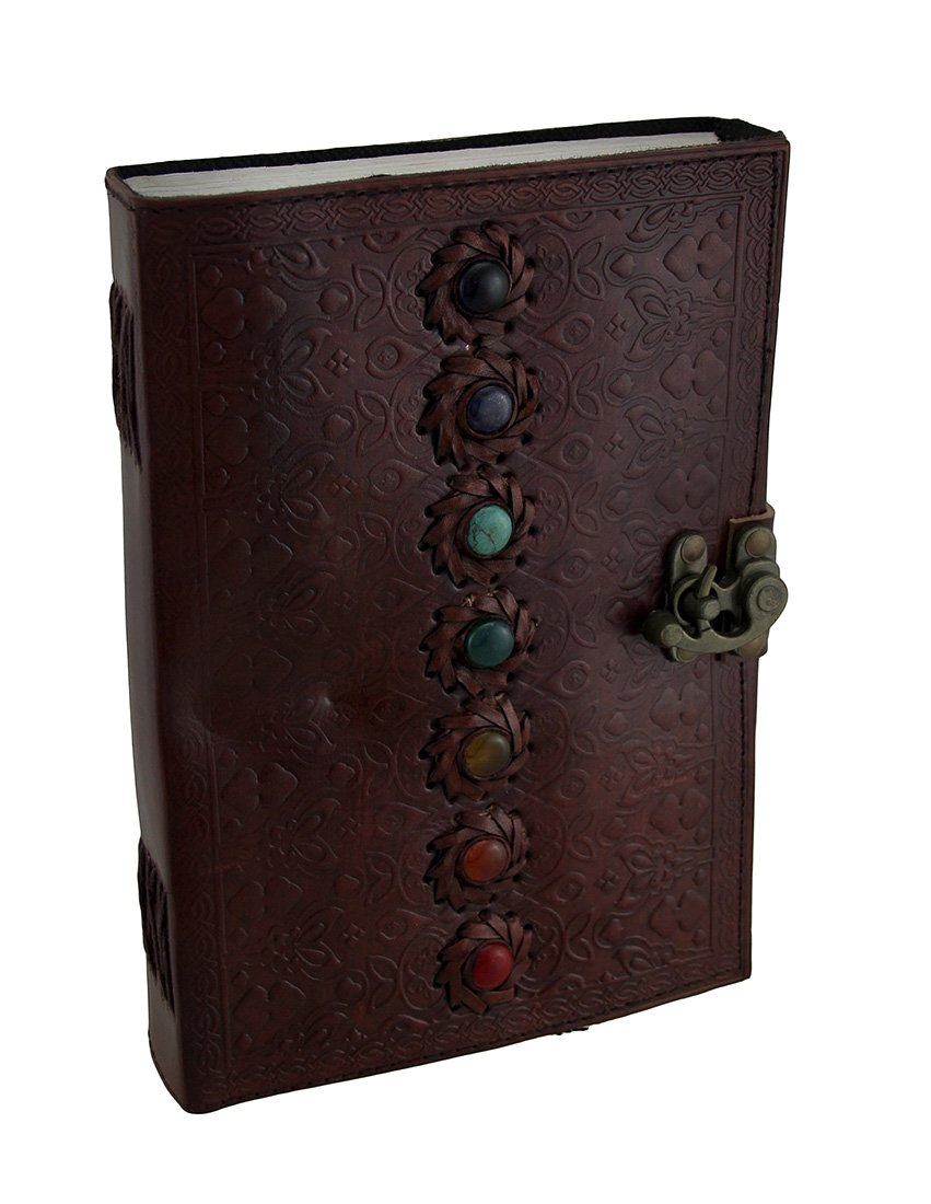 Zeckos Colorful Chakra Stones Embossed Leather Bound Journal 7 X 10 Inch by Zeckos