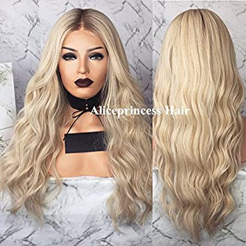 Aliceprincess Long Blonde Wigs Ombre Lace Front Wig Human Hair Body Wave  Blonde Full Lace Wigs 3ce3557cd