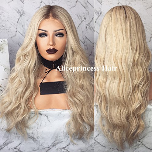 Aliceprincess Long Blonde Wigs Ombre Lace Front Wig Human