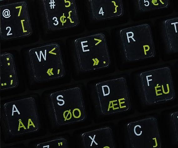 Qwerty Keys Pegatinas Teclado Dvorak Programador Transparentes con Letras Amarillas: Amazon.es: Electrónica